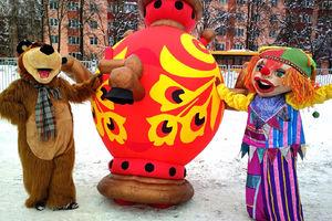 Ростовые куклы на Масленицу в посёлке Лунево